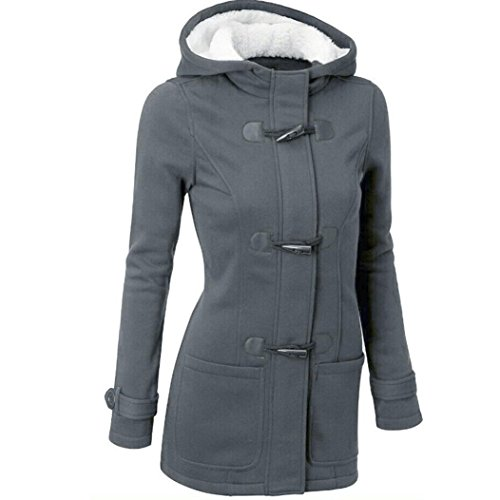- Taore Fashion Warm Wool Slim Long Parka Trench Coat Jacket Women Windbreaker Outwear (5XL, Dark Grey)