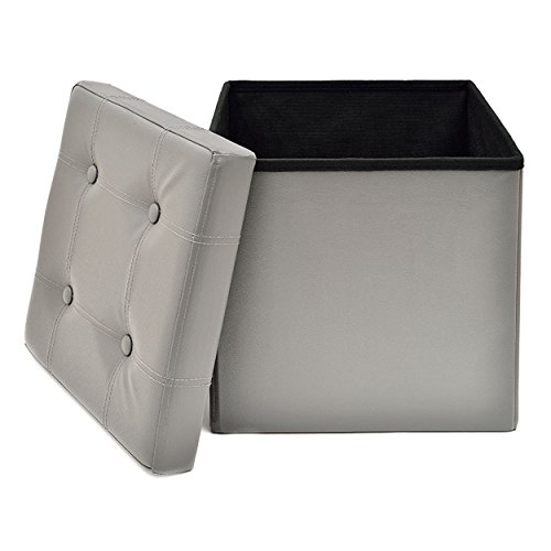 Fresh Home Elements Ottoman, Tufted 15 Storage Cube and Foot Rest, Grey Faux Leather
