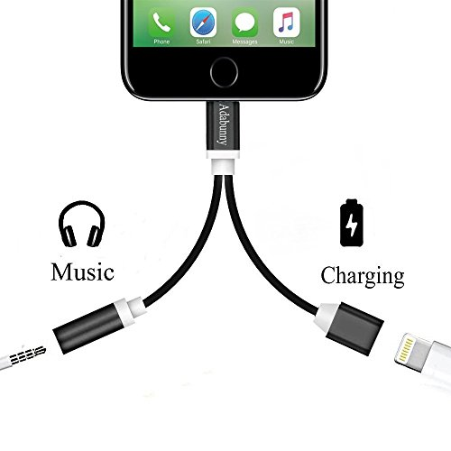 2 in 1 to 3.5mm Audio Adapter, ADABUNNY Charger, to 3.5mm Aux Headphone Jack Adapter for iphone 7 / 7 plus [No Calling Function and No Music Control] (Black) -  A00432IP7DCUSA
