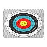 Emvency Doormats Bath Rugs Outdoor/Indoor Door Mat Blue Bullseye Target for Archery on Red Hunting Accuracy Accurate Aim Bathroom Decor Rug Bath Mat 16' x 24'