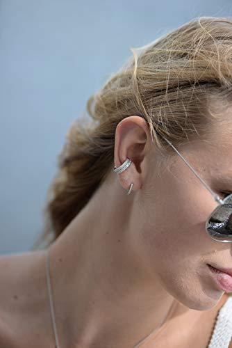 Thin Mini Ear Huggie Hoop Earrings Micropave CZ Cartilage Hoops in Sterling Silver - 10MM Inner Diameter Hoop Small Size by espere (Image #2)