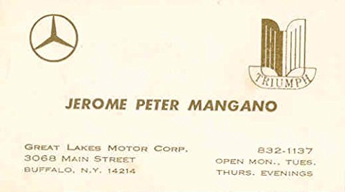 1963 ? Triumph Mercedes Benz Dealer Business Card Great Lakes Buffalo - Triumph Dealer