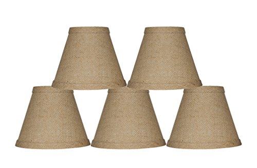 Urbanest Chandelier Lamp Shade 6-inch, Hardback, Clip On, Burlap(Set of 5)