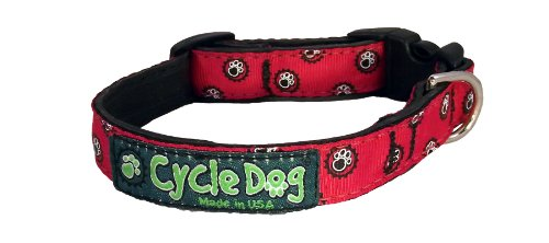 Recycled Dog Collar Narrow Width, Red Icon, Small