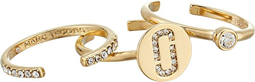 Marc Jacobs Wrap - Marc Jacobs Women's Double J Pave Ring Set Crystal/Gold One Size