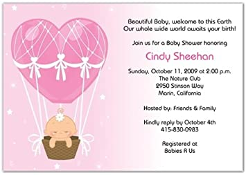 Hot Air Balloon Baby Girl Baby Shower Invitations   Set Of 20