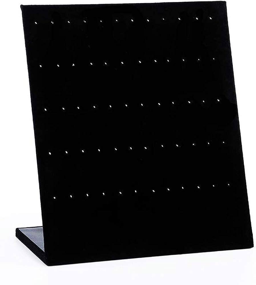 N\O Expositor Pendientes Soporte,Forma de L Terciopelo Joyería Almacenaje Soporte Estante,Soporte Expositor Colgante de Terciopelo (60 Espacio/30Pares) Negro.