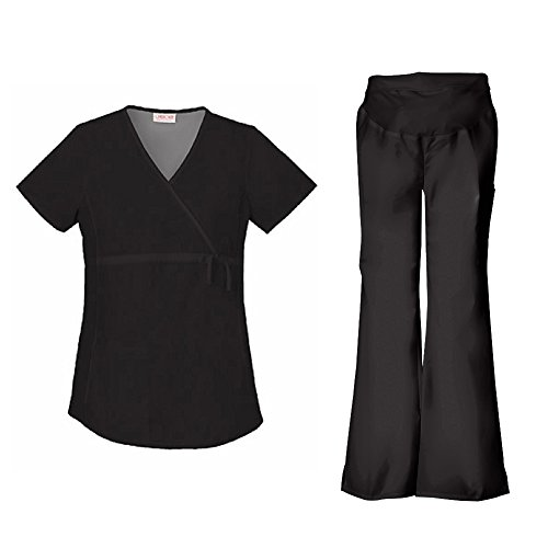 Cherokee Flexibles Women's Maternity 2892 Top & 2092 Pant Medical Uniform Scrub Set (Black - - Flare Fit Scrub