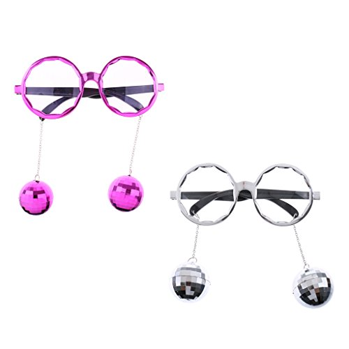 Prettyia 2pcs Retro Shining Hanging Mirror Disco Ball DJ Glasses Sunglasses Dance Party Dressing up Accessory Photo Props -