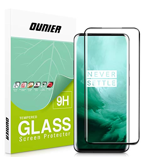 OUNIER OnePlus 7 Pro Screen Protector, [9H Hardness] [Full Coverage] Protective Film HD Clear Tempered Glass Screen Protector for OnePlus 7 Pro Smartphone