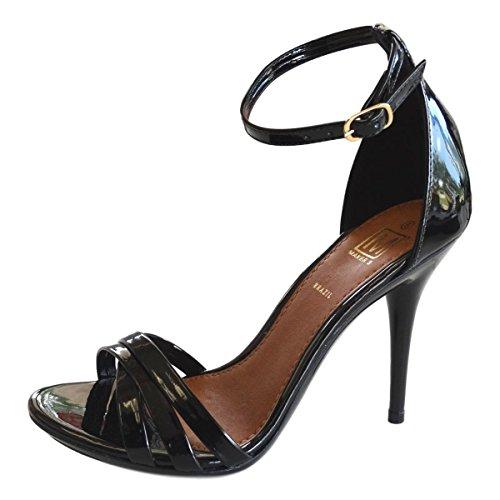 Maker's Carioca-3 - Sandalias de Piel brasileño para Mujer, Charol Negro, 8 M US