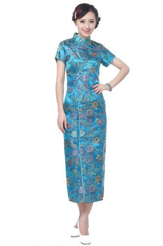 JTC Brocade Wedding Cheongsam Chinese Dress Han Costume Qipao Party Long Skirts (XL)