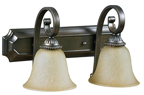 - HOMEnhancements- Alpine Series 2 Light Vanity Fixture- Oil Rubbed Bronze Finish- Tea Stained Glass- 11