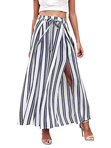 Fashiomo Women's Boho High Waist Striped Wide Leg Pants Slit Belted Palazzo Pants White,M ()