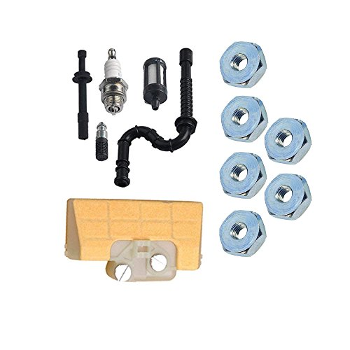 SaferCCTV 10pcs Sprocket Cover Bar Nut + Air Filter + Spark Plug + Fuel/Oil Line Filter for Stihl 029 039 MS290 MS310 MS390 Chainsaw