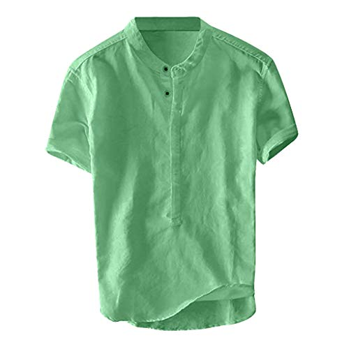 Top Short Sleeve Shirt Beach Yoga Loose Fit Tops Cool, Breathable Stand Collar Shirt (3XL,2- Green)]()