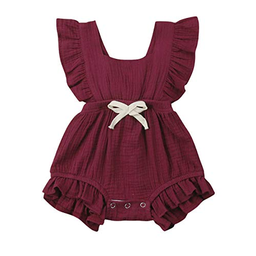 YOUNGER TREE Toddler Baby Girl Ruffled Collar Sleeveless Romper Jumpsuit Clothes (Wine Red, 0-3 Months) ()