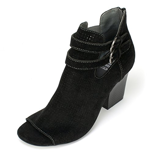 White Mountain Women's Sage Ankle Bootie, Black, 8.5 M US (Black And White Booties)