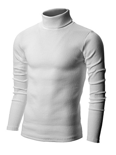 Nyfashioncity Men's Basic Ribbed Cotton Thermal Turtleneck T-Shirts X-Large White