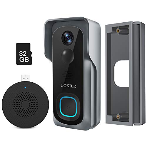 WiFi Video Doorbell Camera with Orienting Base, Wireless Security Doorbell, 32GB Pre-Installed, Motion Detection, 1080P Wide Angle, Night Vision, Waterproof, 2-Way Audio, Cloud Storage (Optional)
