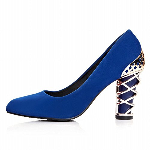 Heel High Shoes Women's Toe Fashion Elegant Dress Shoes Pointed Carol Blue UqpqP