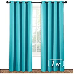 NICETOWN Thermal Curtain 84 Inch Long - (Turquoise=Light Blue Color) Thermal Insultaed Window Treatment Drape, Room Darkening Modern Drapery for Boy's Room,52x84-Inch,One Panel