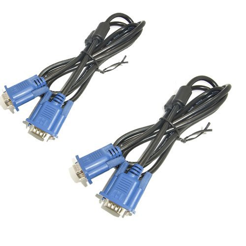 Generic 1.5M VGA SVGA VGA to VGA Male to Male Monitor Video Extension Cable Color Blue Pack of 2