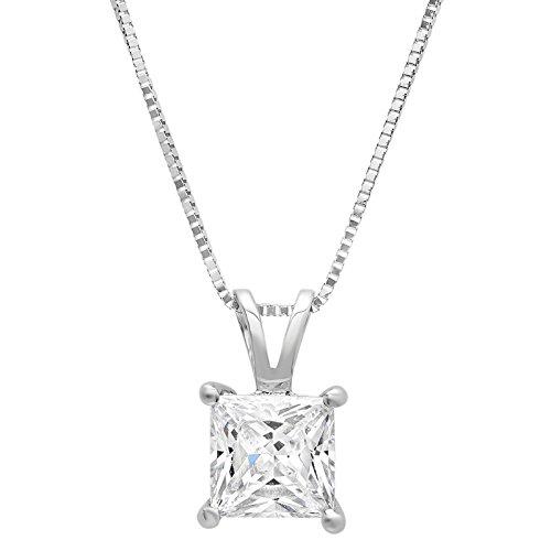 2.0 CT Princess Cut Simulated Diamond CZ Solid 14K White Gold Solitaire Pendant BOX Necklace 16