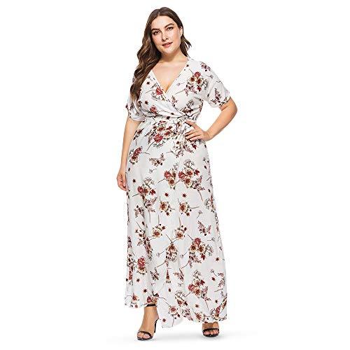 - KCatsy Plus Size Sexy Plunge Neck Short Sleeve Floral Print Slit Women Maxi Dress Milk White