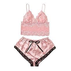 Malbaba Women's Lace Satin Sleepwear Cam...