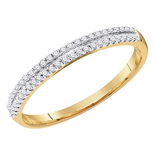(Dazzlingrock Collection 0.15 Carat (ctw) 10K Round White Diamond Ladies Double Row Fashion Wedding Band, Yellow Gold, Size)