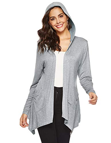 Grey Cotton Cardigan - Women's Lightweight Open Front Breathable Long Sleeve Hooded Cardigan with Pockets (Grey,XL)