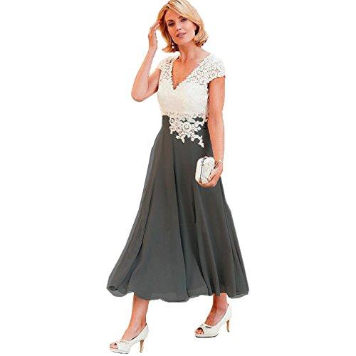 Fashionbride Women's V-Neck Short Sleeve Evening Gowns Mother of The Bride Dresses Tea Length ED41 Grey-US14