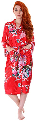 Women's Kimono Robes Peacock Blossoms Silk Satin Long Nightgown Sleepwear, Red by EPYA (Image #2)