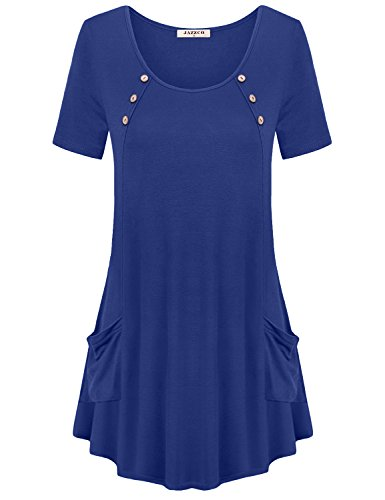 (Jazzco Scoop Neck Shirt Women, Tunics For Women to Wear With Leggings Short Sleeve Casual Loose Fitting Tops(Blue,Large))