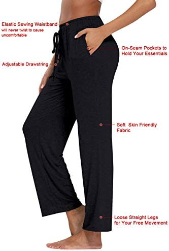 fitglam Women's Lounge Pants, Loose High Waist Yoga Pants, Drawstring Pajama Bottoms with Pockets 3