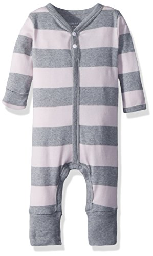 Sleeve Long Rugby Cotton - Burt's Bees Baby Baby Girl's Romper Jumpsuit, 100% Organic Cotton One-Piece Coverall, Blossom Rugby Stripe, 6-9 Months