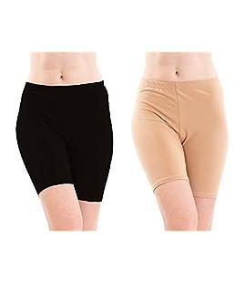 fasla Women's Cotton Lycra Cycling Short,Yoga Shorts-Pack of 2 (36, Black,Skin)