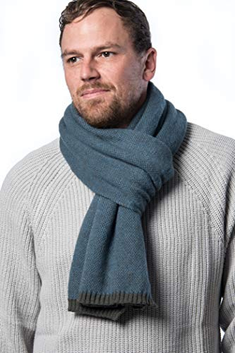 Mio Marino Winter Scarf for Men, Soft Knit Scarve, in an Elegant Gift Box - Gray & Blue (Fashion Scarf Men)
