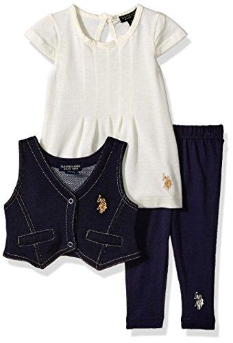 U.S. Polo Assn. Baby Girls' 3 Piece Vest, T-Shirt, and Legging Set, Peacoat Y1KV37POV, 12M