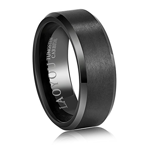 8mm+Tungsten+Rings+for+Men+Boys+Black+Mens+Engagement+Promise+Wedding+Band+Womens+Pure+White+Tungsten+Carbide+Ring+Set+Jewelry+Sets+Gift+for+Dad+Son+Husband+Boyfriend+Women+Girls+Size+14
