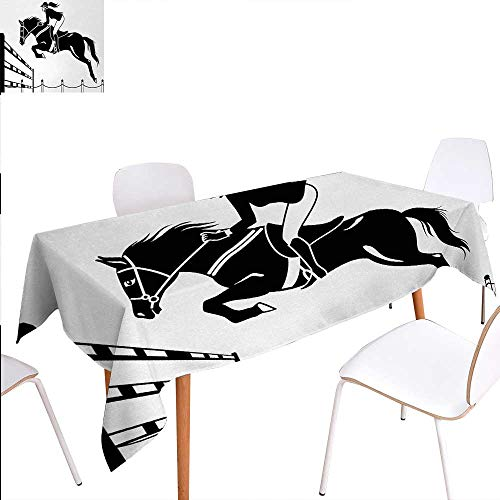 Cartoon Rectangular Tablecloth Racing Horse with a Jockey Girl Jumping Above Barrier Barn Farming Image Print Oblong Wrinkle Resistant Tablecloth 70