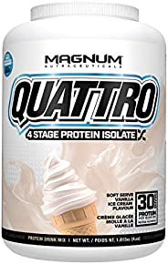 Magnum Nutraceuticals' New and Improved Quattro Soft Serve Vanilla Pure Protein Isolate Powder (4lbs.)