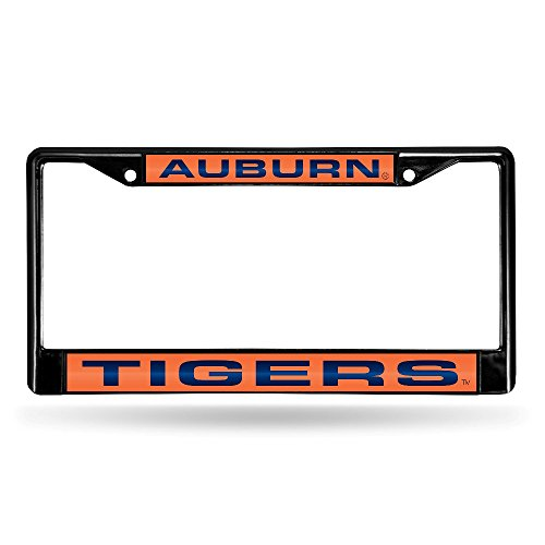 Auburn Tigers Plate - Rico NCAA Auburn Tigers Laser Cut Inlaid Standard Chrome License Plate Frame, 6