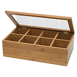 Lipper Divided 8189 Bamboo Tea Box with Clear Lid, 8 sections