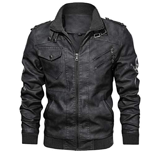 LowProfile Men's Fashion Zipper Bomber Jacket Leather Motorcycle Punk Slim Fit Coat Stand Collar PU Outerwear Black