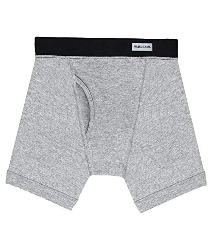 Fruit of the Loom Men's No Ride Up Boxer Brief (Large, Charcoal Grey (Covered Waistband) 5-Pack) (Fruit Of The Loom Brief Men)