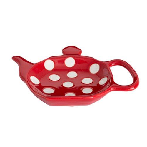 Dexam Polka Spot Dot Ceramic Retro Teabag Holder Caddy in Red