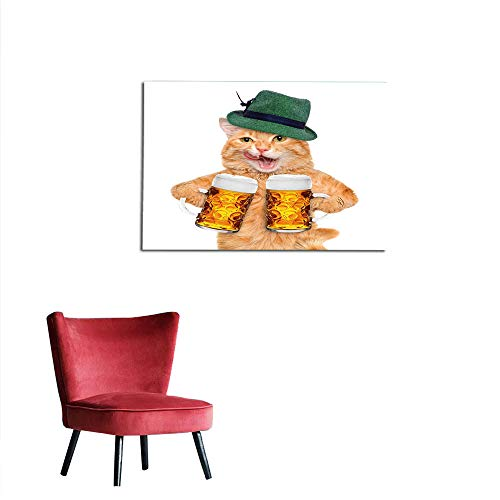 (Wall Picture Decoration Cat,Cool Cat with Hat and Beer Mugs Bavarian German Drink Festival Tradition Funny Humorous,Multicolor Custom Poster W35.4 x)