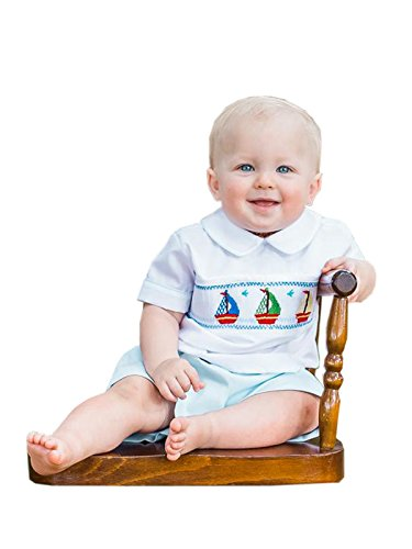 Carouselwear Boys Smocked Sailboat Shirt and Shorts Set For Summer (Sailboat Smocked)